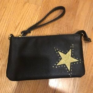 Clutch evening bag black wristlet